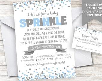 Baby Boy Sprinkle Invitation Invite 5x7 Digital Personlized Confetti Blue Grey Polka Dot