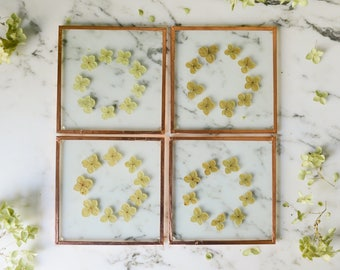 Special *SECONDS* Set of 4 Pressed Flower Coasters | hydrangea | Glass and copper | botanical home decor