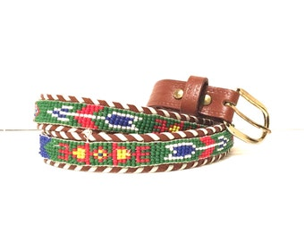 Vintage bohemian aztec leather beaded belt