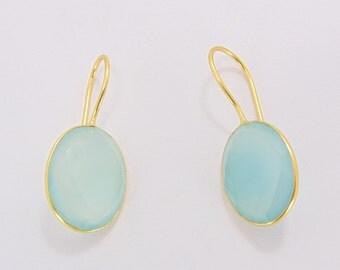 Blue Chalcedony Earrings - Teardrop Earrings - Faceted Earrings - Gemstone Earrings - Dainty Earrings - Women Earrings - Gift Ideas For Her