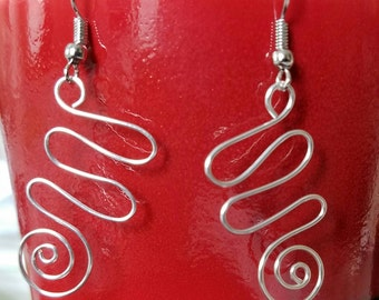 Silver Spiral and Swirl Earrings