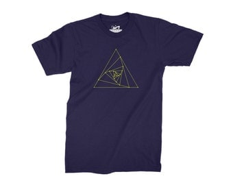 Geometry T-Shirt - Yellow Pyramid Design Printed on Marl Grey/Navy Blue/Black/White Top  Personalised Mens Casual Shirt - UK Streetwear