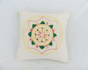 Mandala embroidery cushion