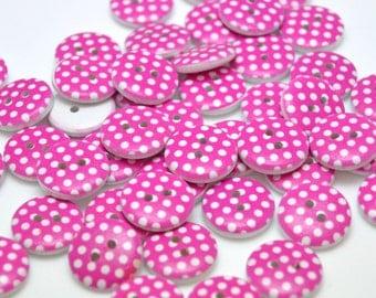 Pink Polka Dot Wooden Buttons, Hot Pink polka dot buttons.