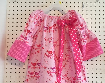 Valentines Day birds in pinks and reds, size 3T