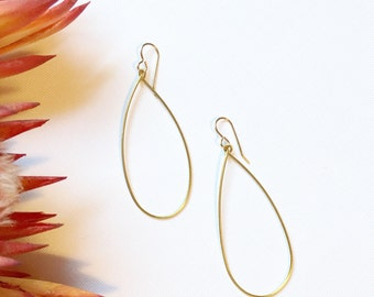Brass Teardrop Hoop Earrings