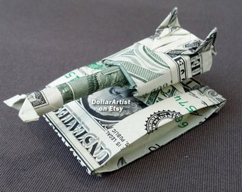 MILITARY TANK Money Origami - Dollar Bill Art - Gift for Army Navy Marines Air Force Soldier