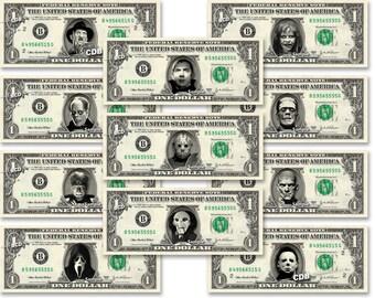 Classic Horror Movie 11-set Dollar Bill REAL Dollar Bill Cash Money Collectible Memorabilia