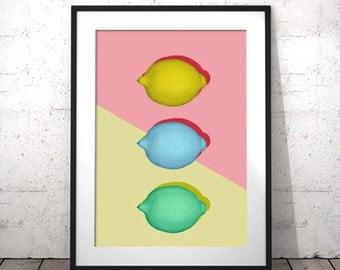Lemon Wall Decor, Printable Food Art, Lemon Print, Instant Download, Lemon Printable, Lemon Art Print, Fruit Wall Print, Kitchen Citrus Art