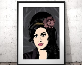 Amy Winehouse Art, Celebrity Portrait Poster, Pop Art Wall Art, Printable Girlfriend Gift, Modern Music Poster, College Dorm Large Print