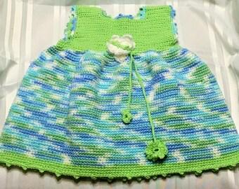 summer green,blue,white knitted flower dress
