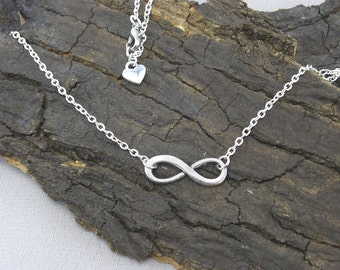 Necklace necklace loop bows silver with heart