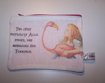 Alice in Wonderland Purse, pencil case, cosmetic bag, teacher gift. Flamingo, gift, birthday gift, teacher gift, student gift