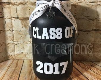 Class Of 2017 Painted Mason Jar Tea Light Candle Holder, painted mason jar, graduate, graduation, class 2017, gift, graduation decoration