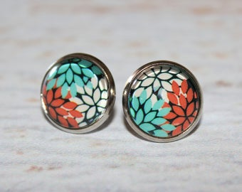 Colour Leaf Round Glass Cabochon Stud Earrings 12mm Orange Blue White Hypo Allergenic Surgical Steel Nickel Free