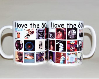 80s music mug selected and designed by Tattoo Mug Lady music gift for her gift for him