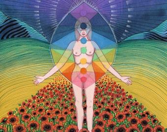 Chakra Art Print - Psychedelic Art, Metaphysical Art, Chakra Poster, Art Poster, Psychedlic Print, Meditation Art, Wall Art, Poppies