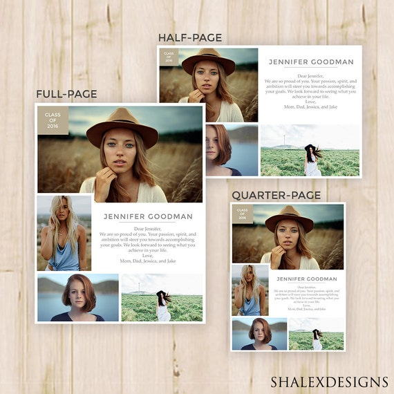 free senior templates for photoshop - senior yearbook ads magazine style photoshop template psd
