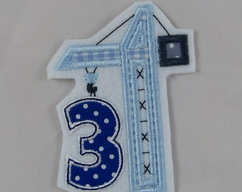 Birthday number 3 with crane, patches, application