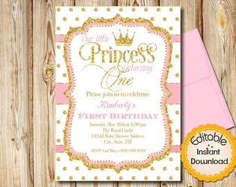 "Pink and Gold First Birthday Invitation, Princess  INSTANT download, EDITABLE in Adobe Reader, DIY, Printable, 5""x7"" each"