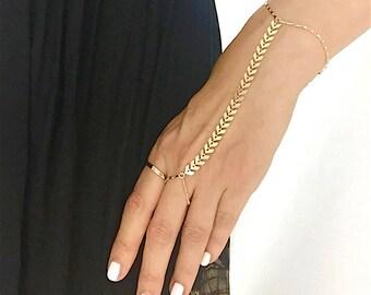 Gold Arrow Hand Chain, Chain Hand Bracelet, Slave Bracelet, Finger Bracelet, Hand Jewelry