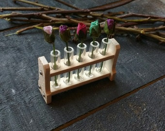 Miniature Test Tube Rack with Flowers - Dolls House Miniature - Tulips - Flower Display - Test Tubes - Doll House Furnishings