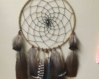 Large turquoise turkey feather dreamcatcher