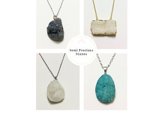Semi Precious Stones - Drusy Stones - Stone Necklaces Drusy Stone Necklaces