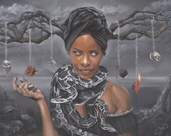 "Marie Laveau Voodoo Queen Portrait Dark Surrealism Oil Painting Fine Art Print 8.5"" X 11"""