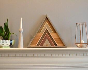 Triangle wood art, decor, lath, brown/copper/gray, pine, cedar, 20in sides