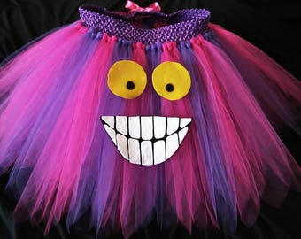 Cheshire Cat costume, tutu skirt with face, fantasy, dress , halloween, christmas, easter, pageant, gift, rave, tea party, woman's tutu