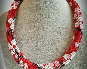 Handmade bead crochet necklace