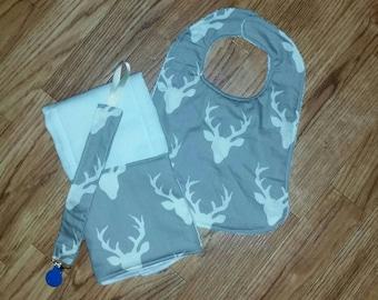 deer bib burp cloth and pacifier clip- custom- baby shower gift-pacifier clip- antlers baby deer themed
