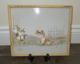 Framed Pekingese Painting