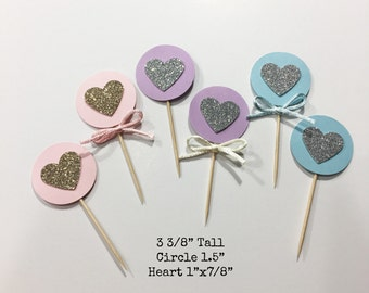 Glitter Heart Cupcake Toppers with Bow Set of 12, Cake Topper, Food Pick, Bridal party, Birthday Party