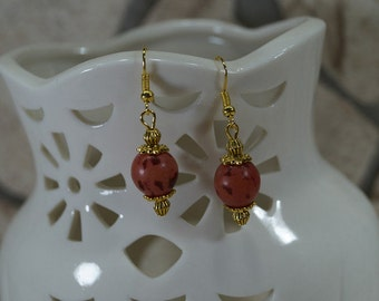 """Earrings """"Palm seeds red elegance in gold"""""""