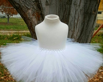 Fluffy White tutu flower girl tutu winter tutu snowman tutu ice princess tutu xmas tutu fairy tutu birthday tutu photo prop toddler tutu