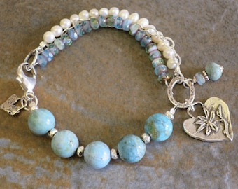 Larimar multistrands bracelet, Freshwater pearls and Sterling Silver, Bohemian chic, Romantic Artisan bracelet, Handknotted with care.