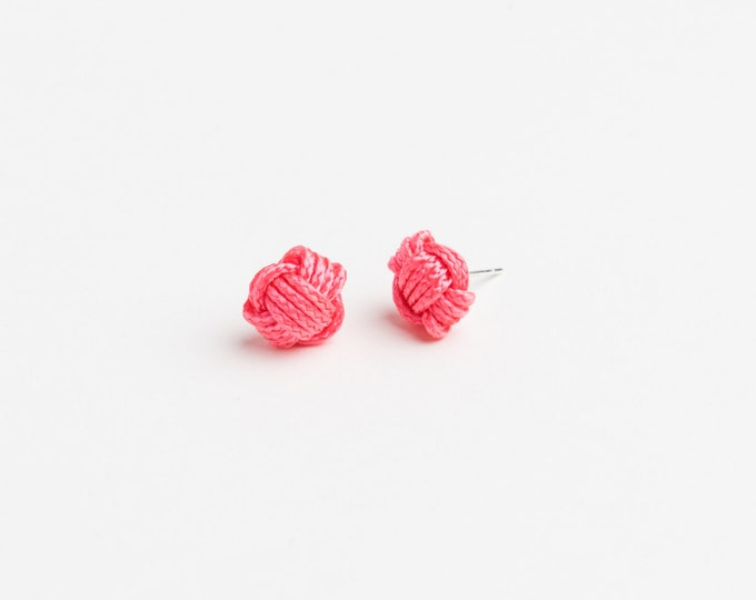 Monkey Fist love knot stud earrings, nautical knots, macrame knot, rope studs