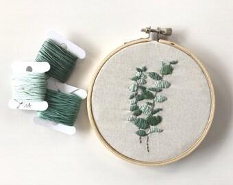 "Eucalyptus Hoop Embroidery - 4"" Embroidery Hoop Art - Home Decor - Stitch Work"