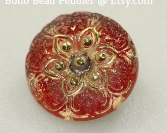 Czech Glass Button, Small, 18mm