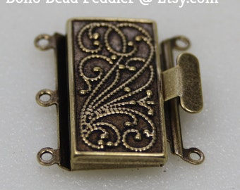 Antique Brass Box Clasp, 3 Strand, Vintage Style