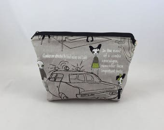 Zombie town makeup bag, zombie cosmetic bag, teen makeup bag, zombie makeup bag, teenager makeup bag, zombie zip pouch, zombie pouch