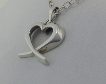 Sterling Silver Crossed Heart Pendant W/ Sterling Silver Chain.