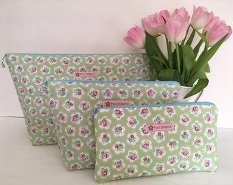 Green Pink Floral Washbag Makeup Bag Purse
