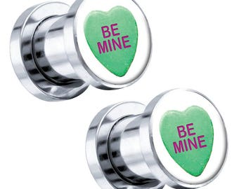 """Green Candy Heart """"Be Mine"""" Steel Screw-On Artisan Plugs 6G - 1"""" - Pair Image 16"""