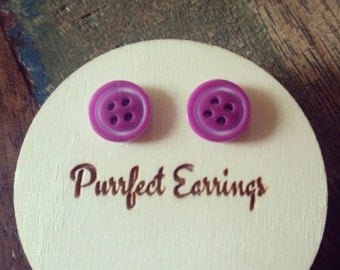 Handmade small purple button earrings