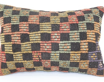 Zigzag Embroidered Kilim Pillow Throw Pillow 16x24 Handwoven Kilim Pillow Ethnic Pillow Home Decor Cushion Cover SP4060-408