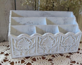 Shabby Chic Desk Organizer Bill Holder Letter Holder -Desk Accessory Office Organizer