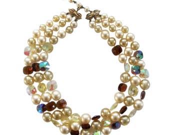 Vintage Marvella AB Crystal & Pearl 3 Strand Choker Necklace